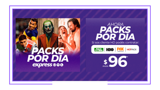 Argentina: Express launches daily premium packages: HBO, Fox Premium, Hot Pack and Pack Fútbol